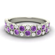 Round Real 14k White Gold 0.91 Ct Natural Diamond Amethyst Christmas Wear Ring _
