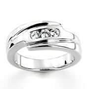 Real 0.30 Ct Diamond Engagement Mens Band 14k White Gold Round Ring Size 8 9 10