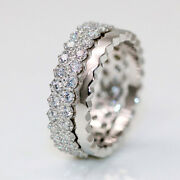 Genuine Real 1.2 Ct Diamond Eternity Ring Band Solid 14k White Gold Ring Size 7