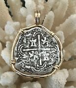 Pirate Coin Treasure Piece Of Eight Hand-struck Authentic 2r Set 14k Pendant