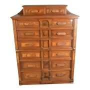 Antique Walnut American Rare Office Chest Of 8 Drawers