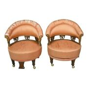 Unusual English Antique Club Chairs From Train Worn Fabric
