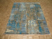 8and0392 X 10 Hand Knotted Blue Modern Abstract Oriental Rug Wool G9420