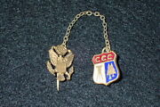 Ccc Civilian Conservation Corps Lapel Enamel Insignia And Officersand039 Style Fob Rare