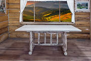 Log Dining Table Amish Made Rustic Trestle Base Kitchen Tables Unfinished Pine