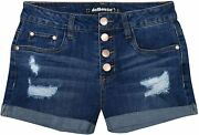 Dollhouse Womenand039s High Waisted Denim Shorts With Exposed Buttons