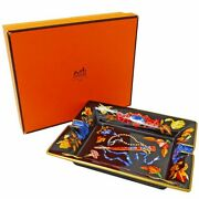 Hermes Ashtray Cigar Tobacco Tray 16x19.5cm Fan And Jewelry W/box
