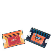 Hermes Ashtray Cigar Tobacco Tray Set 8x6cm Horse Red And Blue W/box
