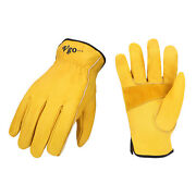 Vgo 1/2/3/12/24 Pairs Wholesale Cow Leather Work Gloves, Driver Glovesca9590