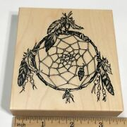 Psx American Indian Dream Catcher K2001 Magic Feathers Rubber Stamp