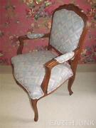 Ethan Allen Duvall Country French Carved Upholstered Blue Arm Chair Finish 236