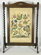 Vintage English Antique Victorian Barley Twist Mahogany Fire Screen Early 1900s