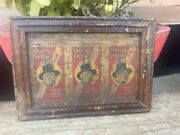 Antique Old Hand Crafted Passing Show Cigarettes Tin Sign Board Framed 7 X 5''