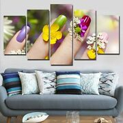 Colorful Nail Gel Flowers Salon 5 Panel Canvas Print Wall Art Poster Home Decor