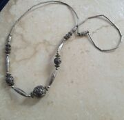 Vintage Jewelry 1940andrsquos Sterling Silver Beaded Necklace