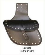 Allstate Motorcycle Medium Leather Studded Throw Over Saddle Bag - Free Shipping