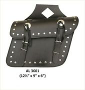 Allstate Motorcycle Medium Studded Throw-over Leather Saddle Bag - Free Shipping