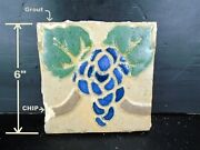 Very Rare - Grueby Tile - 4 Color W/blue Grapes - 6x6 - W/makers Marks