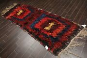 3'11 X 8'2 Antique Hand Knotted Afghan Boho Wool Oriental Area Rug