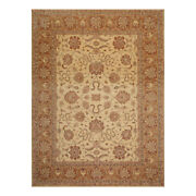 8and0392 X 11and0394 Hand Knotted Wool Stone Wash Peshawar Vegetable Dyes Area Rug Beige