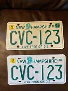 Pair Of 1999 New Hampshire License Plates Old Man Of The Mountain Cvc-123