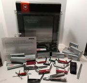 Victorinox Swiss Army Display Case With 10 Knives Card Case And Tool W/boxes New