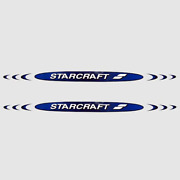 Starcraft Boat Decal   Pacific Blue / Black / White Pair