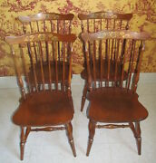 Lambert Hitchock Set Of 4 Maple Fantop Side Chairs Hand Decorated Stenciled