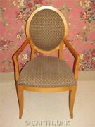 Ethan Allen Oval Back Modern Upholstered Arm Chair Maple Wood 7020 Radius