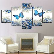 White Flowers And Blue Butterflies 5 Panel Canvas Print Wall Art Home Decoration