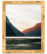 41x31 Gold Bamboo Wood Picture Frame - With Acrylic Front And Foam Board Backing