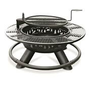 Fire Pit With Cooking Grill Grate Outdoor Campfire Bbq Camping Woods Patio