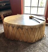 Unique Taos Rawhide Drum Coffee Table Native American Excellent Condition
