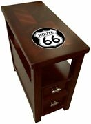 End Table Cherry Finish Nightstand Accent Table With Drawer And Vintage Gas Logo