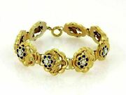 Antique Blue Enamel And Seed Pearl Rose 14k Yellow Gold Link Bracelet