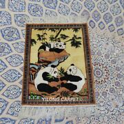 Yilong 1.5'x2' Miniature Handknotted Silk Rug Vintage Panda Tapestry Tj081h
