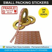 Fragile Please Handle With Care - Small Red Postal Sticky Labels / Stickers