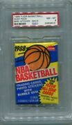 1988 Fleer Basketball Wax Pax Bird Sticker On Back Psa 8