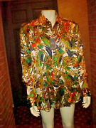 Nwt Mens Hawes And Curtis Beautiful Silk Shirt Jungle, Ferns, Chains Size 3xlarge