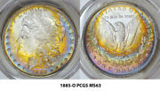 1885-o Pcgs Ms63 Morgan Stunning Colorful Target Toned Rainbow @@@