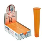 Zig Zag Orange 1 1/4 Rolling Papers 24 Pks Sealed Box W/stash Tube Usa Shipping