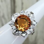Ring Bomb Party Peach Ombre Crystal And White Topaz Size 6 Rbp3003