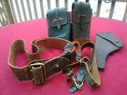 Antique Us Military Gandk 1918 Ag Leather Holster W Belt And Ammo Pouches Wwi Era