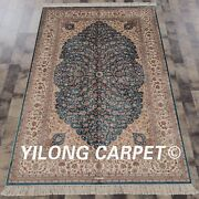 Yilong 4'x6' Handknotted Silk Area Rug Blue Floral Home Decor Carpet Z049a