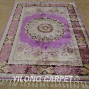 Yilong 4.3and039x6.2and039 Medallion Handknotted Silk Carpet Purple Luxury Area Rug 1707