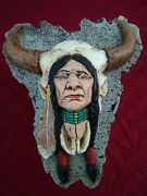 Vintage Native American Indian Chief Chalkware Wall Hanger 12lx9wx3 Lbs