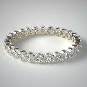 Solid 14k White Gold 0.81 Ct Round Real Diamond Wedding Eternity Band Size 7 8 9