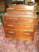 Walnut Victorian 6 Drawer Step Back Cottage Chest Of Drawers W/ Carved Pulls