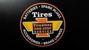 Vintage Firestone Tires Porcelain Sign 12and039and039 Gas Oil Service Station Pump Plate