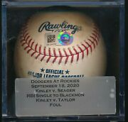 Dodgers Vs Rockies Corey Seager Game Used Baseball Rbi Single Betts Scores
